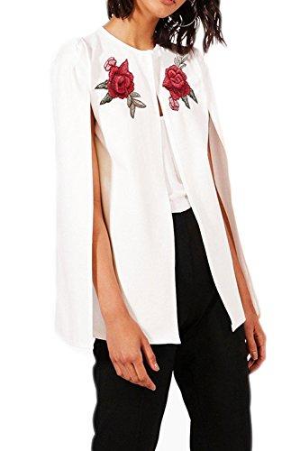 La Femme Est lgant Brods Avant Ouvert L'automne Chale Poncho Veste Blazer Trenchcoat white