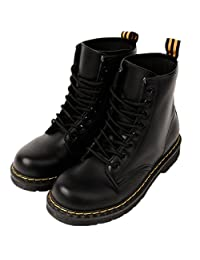 LOVEBEAUTY Women's Faux Leather Lace Up Waterproof Combat Boots Ankle Bootie