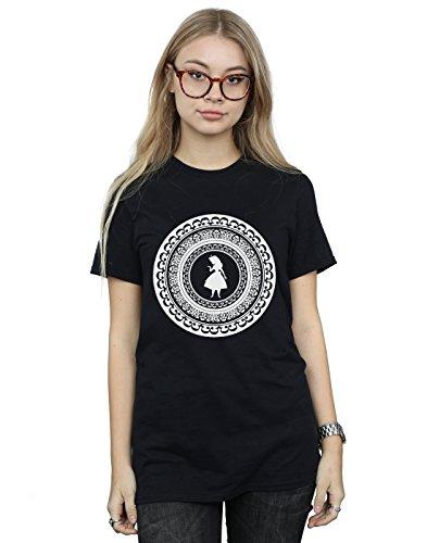 Disney Women's Alice in Wonderland Circle Boyfriend Fit T-Shirt Medium Black - Wonderland Circle