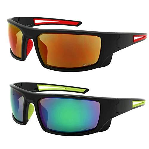 Edge I-Wear 2 Pack Sports Safety Sunglasses Red Lens Green Lens ANSI Z87+ 570100/REV-SET3(r/gn) (Best Quality Safety Glasses)