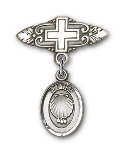 Icecarats Créatrice De Bijoux En Argent Sterling Baptême Broche De Badge Charme Avec Une Croix X 3/4