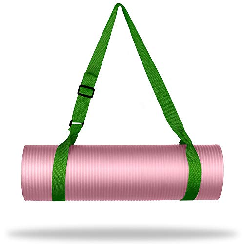 """WEHE Yoga Strap Mat Strap Sling with Adjustable Buckle, Carrying Strap in Standard Extra Long 86"""" Durable Cotton Exercise Yoga Mat, 10 Colors Available, Odor Resistant (Army Green)"""