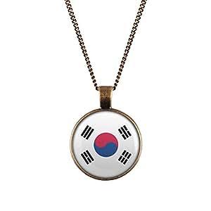 WeAreAwesome Bandera De Corea Del Sur Collar - Cadena de paíS con Bandera Colgante Collar Unisex