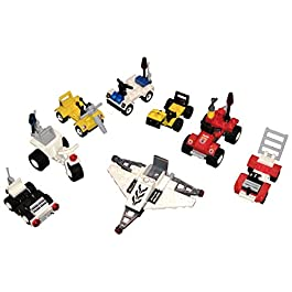 Brick Building Mini Vehicles Variety STEM Toys 8-Pack Set – Birthday Party Favors for Boys and Girls – Toy Cars – Two Police, Two Fire, Two Space and Two Construction Vehicles – Fun Building Toys