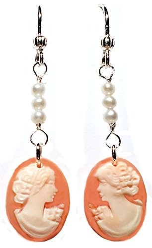 Carved Shell Earrings (Cameo Earrings Master Carved, Carnelian Shell, French Wire, Natural Pearls, Sterling Silver, Italian, Imported)