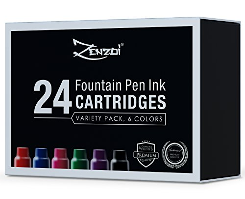 Fountain Pen Ink Refill Cartridges 24 Ink Cartridges (6 colors Variety Set) Black Blue Red Green Purple Pink - For Executive Writing Signature Calligraphy Pens Set Standard International - 24 Shop Just Coupons
