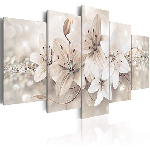 Melpa Art Winter Princess 5 Panels Modern Abstract White Flower Canvas Wall Art Painting on Wooden Frames Home Decor HD Picture Print Floral Artwork (W40 x H20)