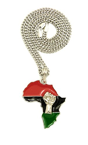 NYFASHION101 Power Fist on Pan Africa Continent Pendant with 3mm 24'' Cuban Chain Necklace, Silver-Tone by NYFASHION101