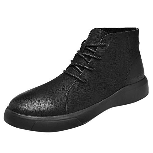 (JJHAEVDY Men's Desert Chukka Boots Stylish Mid Top Boots Classic PU Leather Lace Up Boots Comfort Casual Fashion Shoes)