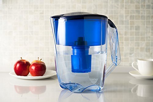 Ecosoft Water Filter Pitcher Jug - BPA-Free - Patent Commercial Grade Water Cleaner Ecomix - 8 Cups Purified Water, 10 Cup Capacity with 1 Free Cartridge for Home and Camping Filtration, Blue