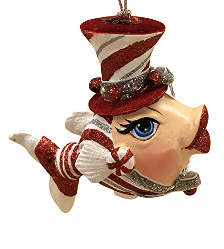 (Katherine's Collections Peppermint Candy Fish Hanging Ornament 28-828161 5.5 Inches (Red))