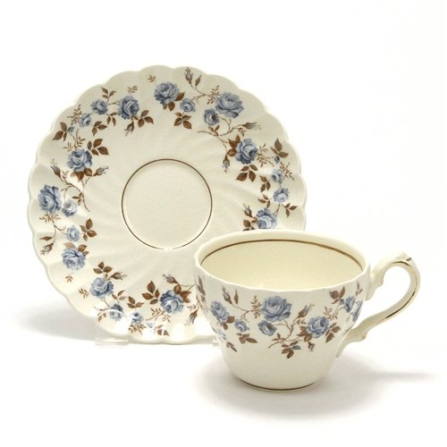 Rosanna, Blue by Myott/Staffordshire, China Cup & - Staffordshire Saucer Cup