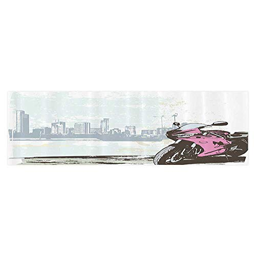 Fish Tank Background Sport Bike by River Modern Cityscape Background with Skyline Paper Fish Tank Backdrop Static Cling Wallpaper Sticker 29.5