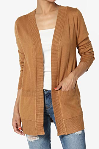 TheMogan Womens Boyfriend Relaxed Fit Open Front Pockets Knit Sweater Cardigan