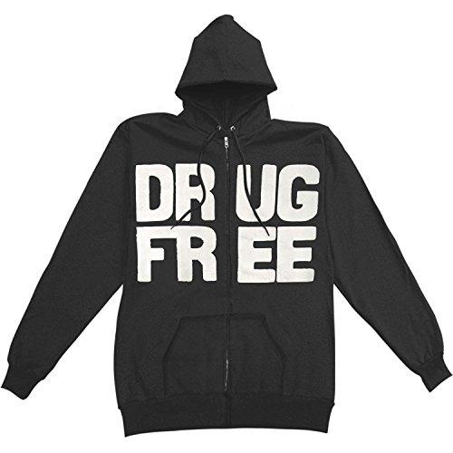 1981 Straight Edge Men's Drug Free Zippered Hooded Sweatshirt X-Large Black (Straight Edge Sweatshirt)