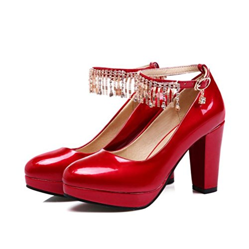 QPYC 33 Rhinestone Glossy 43 Leather Shoes Women'S 31 42 44 Singles Shallow Mary 46 32 Mouth 30 48 45 Shoes Jane Head Heels Buckle Heel Rough 47 red Round High rqr1A