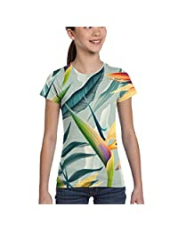 Girls' Short Sleeve Colorful Leaves and Flowers T-Shirts, Casual Tunic Shirt, XS-XL