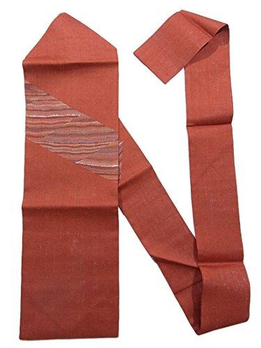 ガスゆり一般化するリサイクル 名古屋帯 夏紬 菱によろけ縞模様 正絹