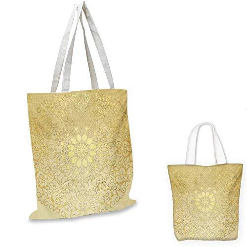 "Mandala canvas messenger bag Round Antique Motif Curvy Stylized Ornate Heart Shape Arabesque Influences canvas beach bag Yellow Pale Yellow. 12""x15""-10"""