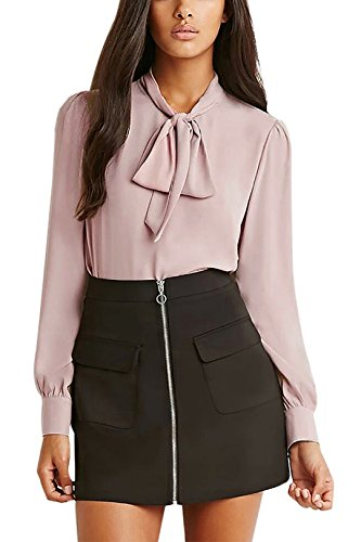 YOINS Women's Casual Chiffon Loose Bow Tie Top Long Sleeves High Neck Blouse
