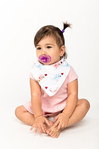 Natemia Cute Baby Bandana Drool Bibs - 4 - Pack Set with Snaps! Soft and Absorbent - Perfect Baby Gift Set for Drooling, Feeding and Teething