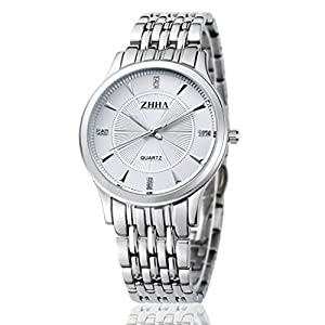 ZHHA Men's Watches 004 Quartz Silver Stainless Steel Bracelet Wrist Watch Waterproof