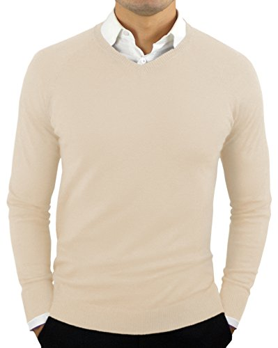 Comfortably Collared Men's Perfect Slim Fit V-Neck Sweater Large Oatmeal by Comfortably Collared