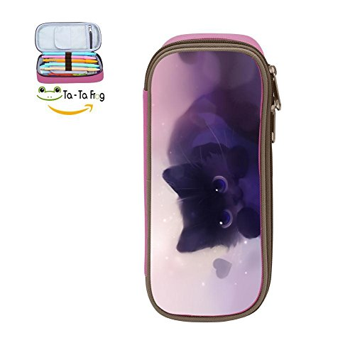 Pencil Case Kitty Loves Fish Waterproof Multi-Function Pen Bag with Big Capacity