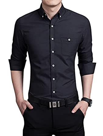 Chouyatou Men's Basic Collared Long Sleeve Dress Shirt One-Pocket (Large, Black)