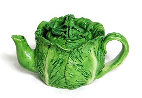 (Unique Fairy Garden Accessory Miniature Supply Dollhouse Decoration Cute Green Vegetable Teapot Sculpture Home Decor Mini Air Plant Succulent Pot Planter Small Flower Vase Jewelry Box (Green Cabbage))