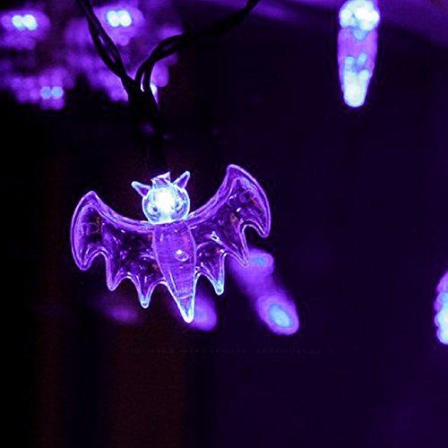 ITART Purple Bat String Lights Halloween Decorative String Lights 20 LEDs 6ft Battery Operated Halloween Décor Indoor Outdoor Party Lighting Decoration