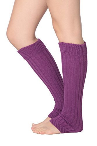 Isadora Paccini Women's Ribbed Knit Leg Warmers, One Size, LW15, purple (Adult Leg Warmers)