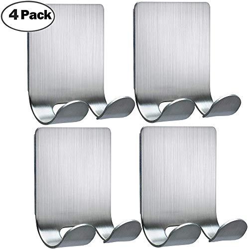 (Razor Holder For Shower Hooks Self Adhesive Hooks Hanger Stainless Steel Shower Shave Razor Hook Stand Bathroom Kitchen Organizer for Razor Plug Robe Towel Loofah Bathrobe Coat-4 Packs)