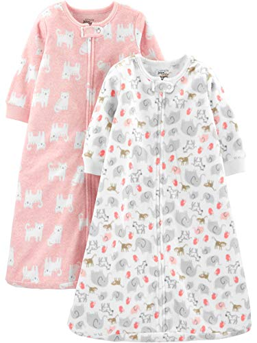 Simple Joys by Carter's Girls' 2-Pack Microfleece or 3-Pack Cotton Sleepbag, Pink Cats/Animals, Small: 0-3 Months, up to 12.5 lbs (Sleep Blanket Infant)