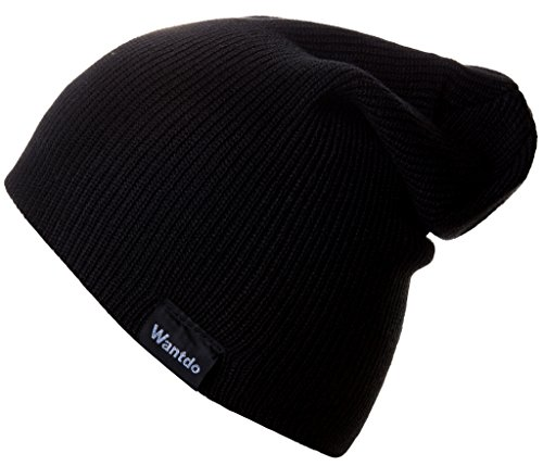 Wantdo Unisex Beanie Knit Hat Solid Color Black Crochet Cap