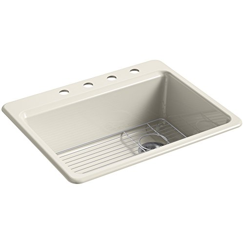 KOHLER K-8668-4A1-47 Riverby Top-Mount Single-Bowl Kitchen Sink with Bottom Basin Rack and 4 Faucet Holes, 27