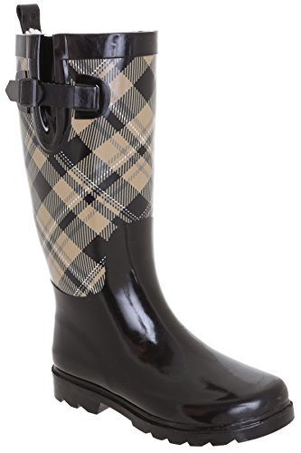 Capelli New York Ladies Shiny Plaid Printed Rain Boot Warm Sand 9 by Capelli New York (Image #2)
