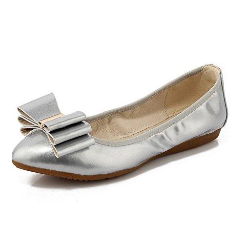 Amortiguador De Cuero Con Cordones Y Zapatos De Punta Cerrada Con Cordones Y Tirantes En Piel De Color Plateado De Amoonyfashion