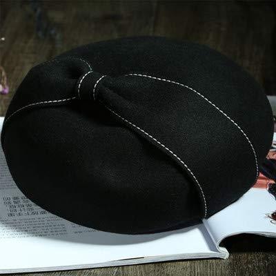 Junson Lovely Beret Women's Autumn and Winter Wild Big Bow 蓓 帽 hat hat hat (Color : Camel, Size : M(56-58cm)) for Winter (Color : Black, Size : M(56-58cm))