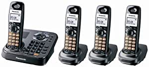 Panasonic KX-TG9344T Dect 6.0 Expandable Digital Cordless Phone with Answering System, Metallic Black, 4 Handsets