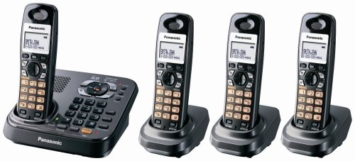 (Panasonic KX-TG9344T Dect 6.0 Expandable Digital Cordless Phone with Answering System, Metallic Black, 4 Handsets)