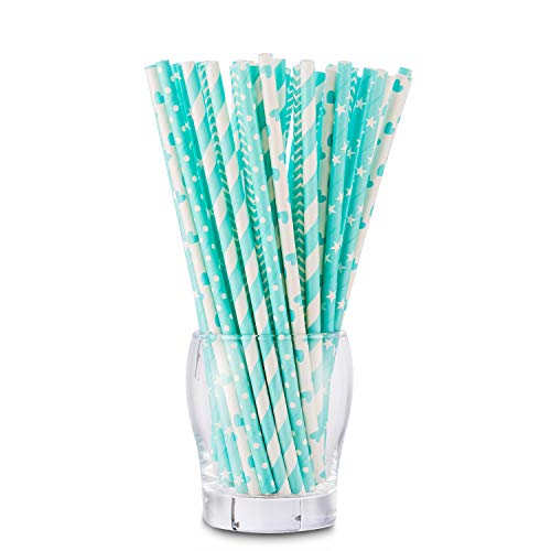 Biodegradable Paper Straws, NUIBY Aqua Baby Shower Straws, Party Straws, 7.8 Inches 125 Packs