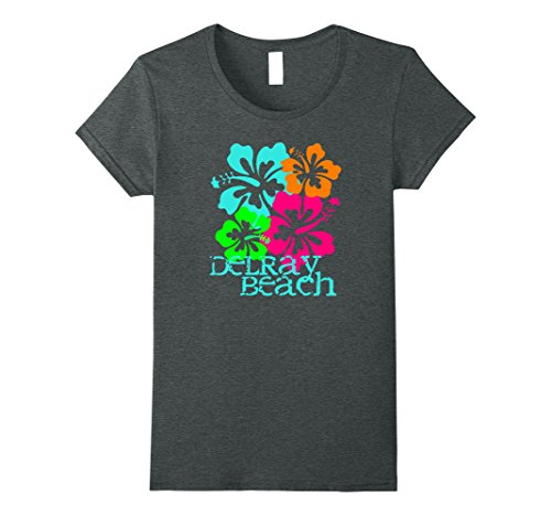 Womens Delray Beach Tropical T-Shirt Travel Surf Tee Shirt Medium Dark - Beach Shops Delray