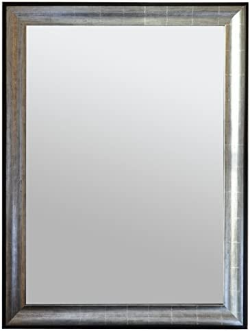 Raphael Rozen , Modern, Hanging Framed Wall Mounted Mirror, Antique Silver, 35.5×45.5