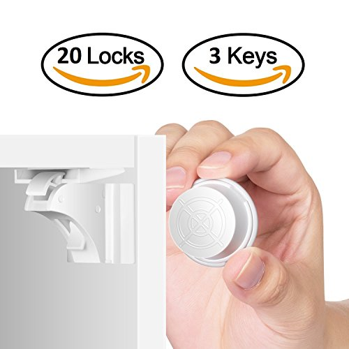 Magnetic Child Safety Cabinet Locks - 20 Lock + 3 Key for Baby Proofing Cabinets and Drawers, Easy Install with No Tools or Drill by KiddyByte