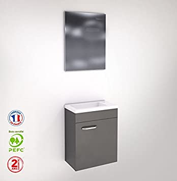 Liineo Meuble Wc Lave Main Faible Profondeur Laqué Gris Miroir