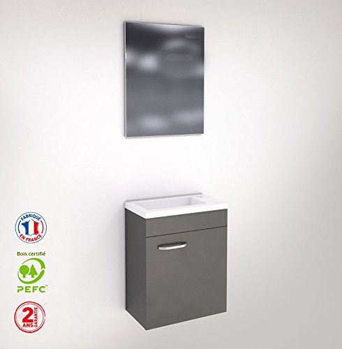 Meuble WC lave-main - faible profondeur - laqué gris avec miroir