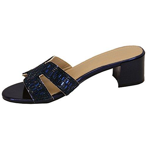 Ladies Diamante Bridesmaid Sandals Open Toe Slip On Block Heel Shoes Wedding New Blue - Ch02083 125WtNJO