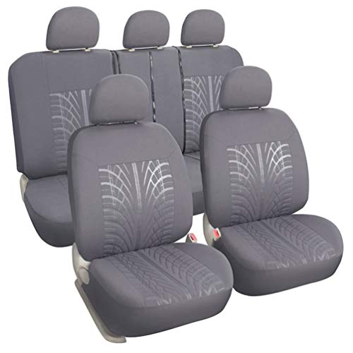 XCAR Universal Full Set Cloth Fabric Car Seat Covers Grey with 5 Detachable Headrests