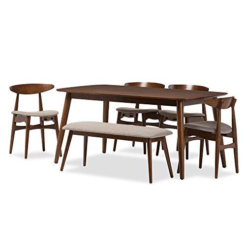 Baxton Studio Juliette Mid-Century Modern 6 Piece Dining Set, Medium, French Oak